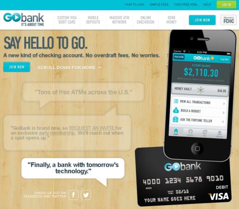 Page d'accueil de GoBank
