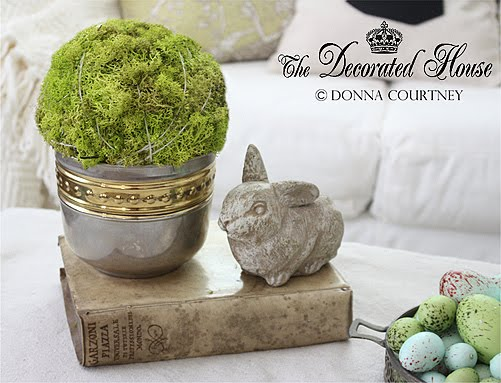 The Decorated House. Decorating for Easter. Moss Ball, Cement Bunny, Antique Vellum Book