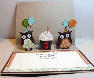 Birthday Cakes on Crafty Maria S Stamping World  Owl Pop Up Birthday Card