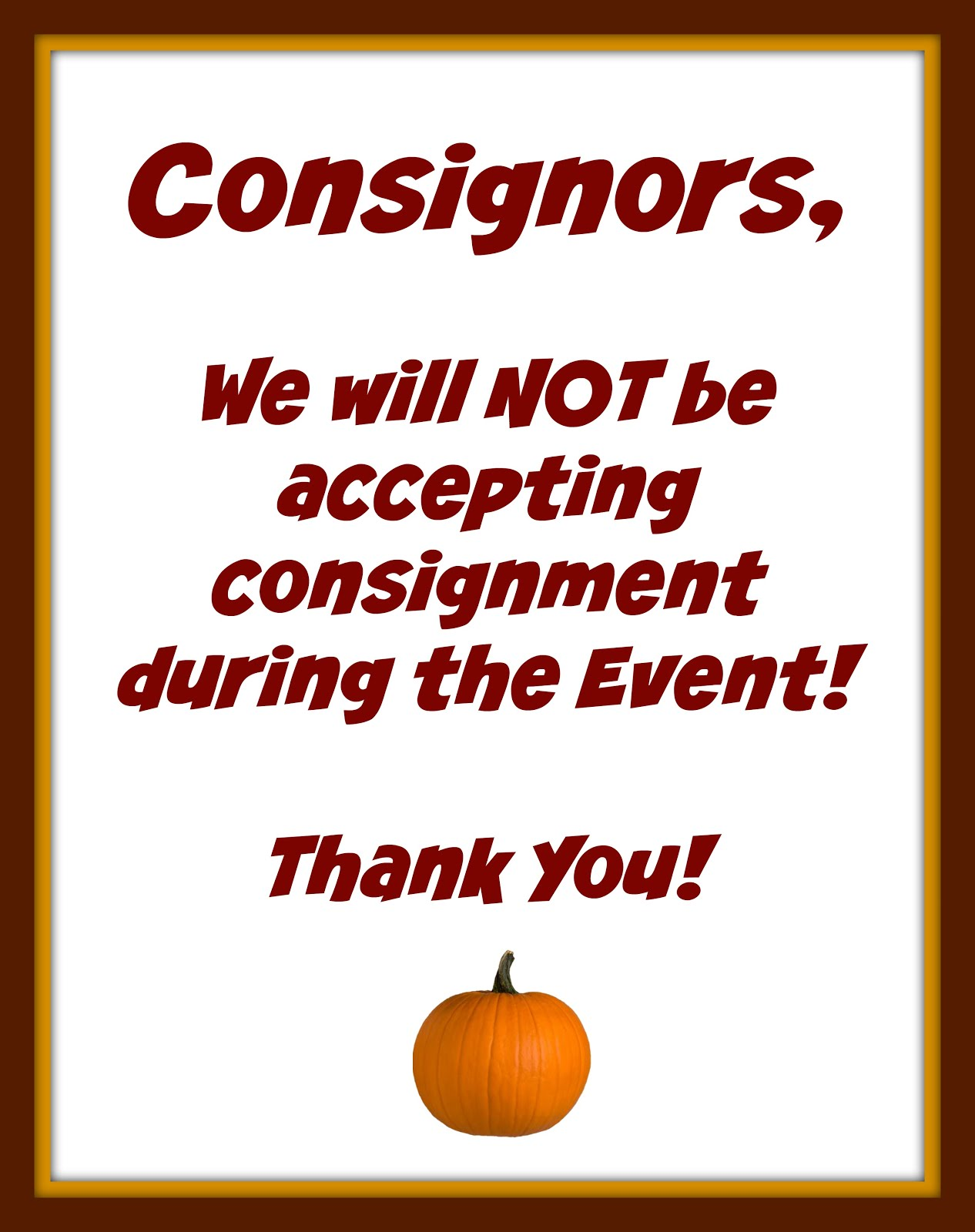 Attention Consignors!