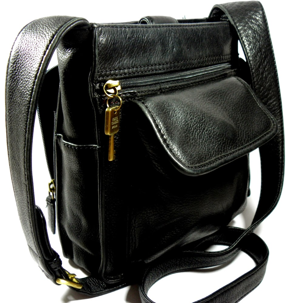 Fossil Black Leather Shoulder Bag Classic Vintage Purse