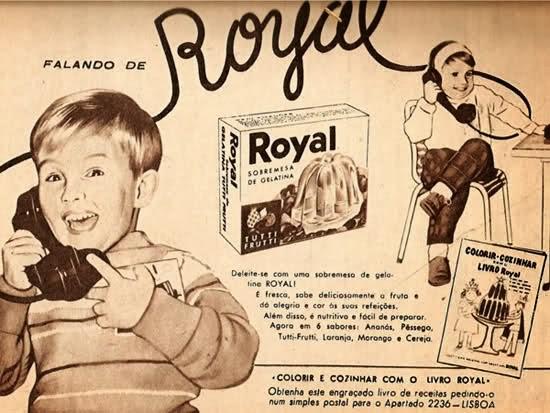 Propaganda da Gelatina Royal. Antiga, de Portugal. Ano 1956.