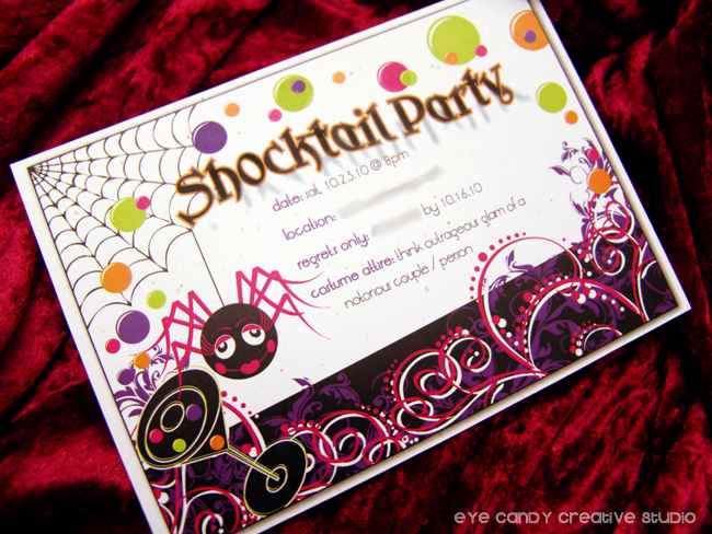 shocktail party invite, halloween party invitation, spider, cocktail party