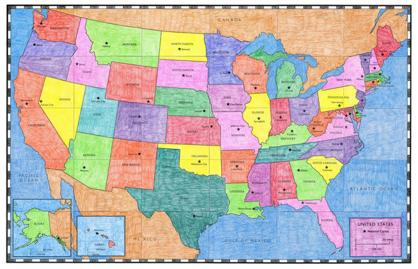 USA Map Art Projects For Kids - Map of the us states and their capitals