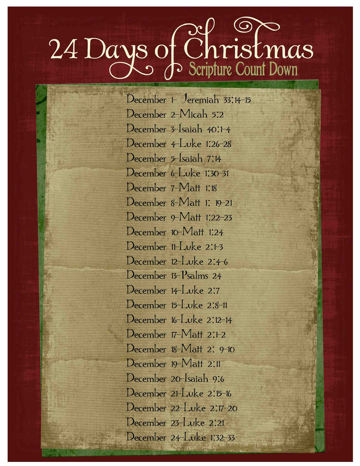 Advent Calendar Ideas Bible Verses : Just sweet and simple christmas scripture advent calendar