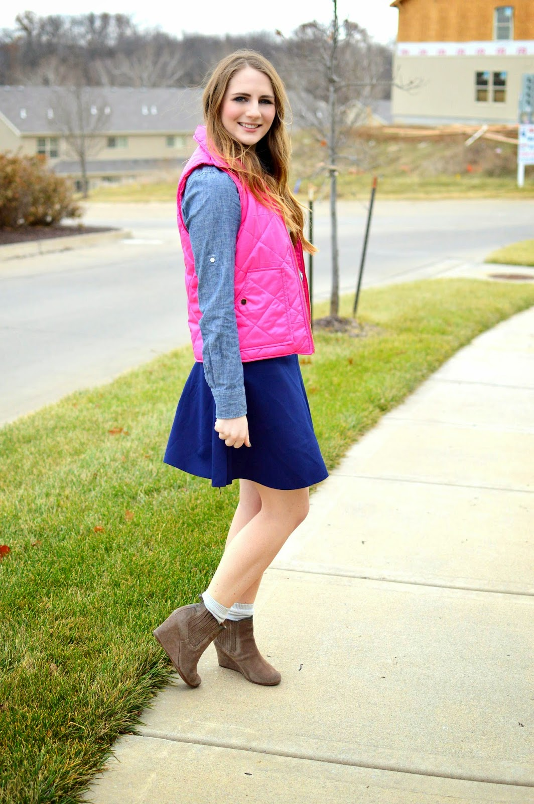 how to style a pink puffer vest from www.amemoryofus.com