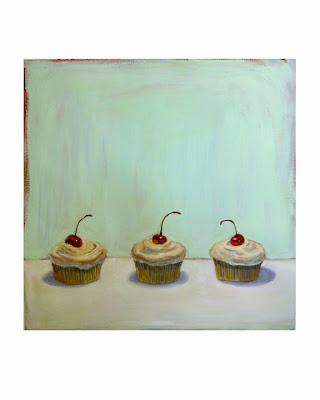 cupcake painting, junk food art, cherry cup cake still life