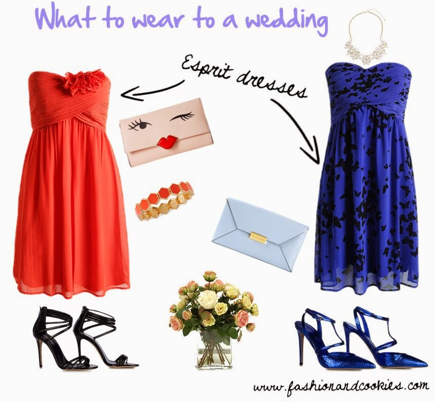 Wedding guest outfit ideas, wedding looks, what to wear to a wedding on Fashion and Cookies fashion blog, Esprit elegant dresses