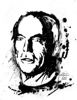 Giorgio Armani by Kai Karenin. Chinese ink on paper, 185x245mm, sketch