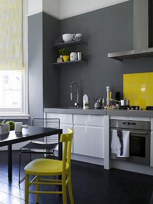 diseño de cocina en gris y amarillo