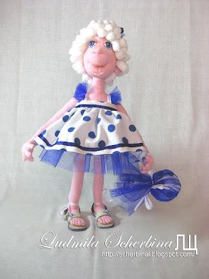 текстильная кукла на проволочном каркасе Стася