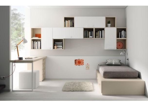 Dormitorios juveniles en colores arena - Estanterias para dormitorios ...