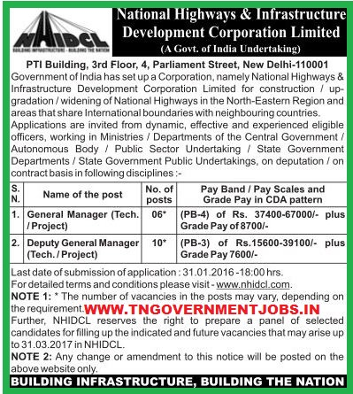Applications are invited for GM and DGM Posts in NHIDCL (WWW.TNGOVERNMENTJOBS.IN)