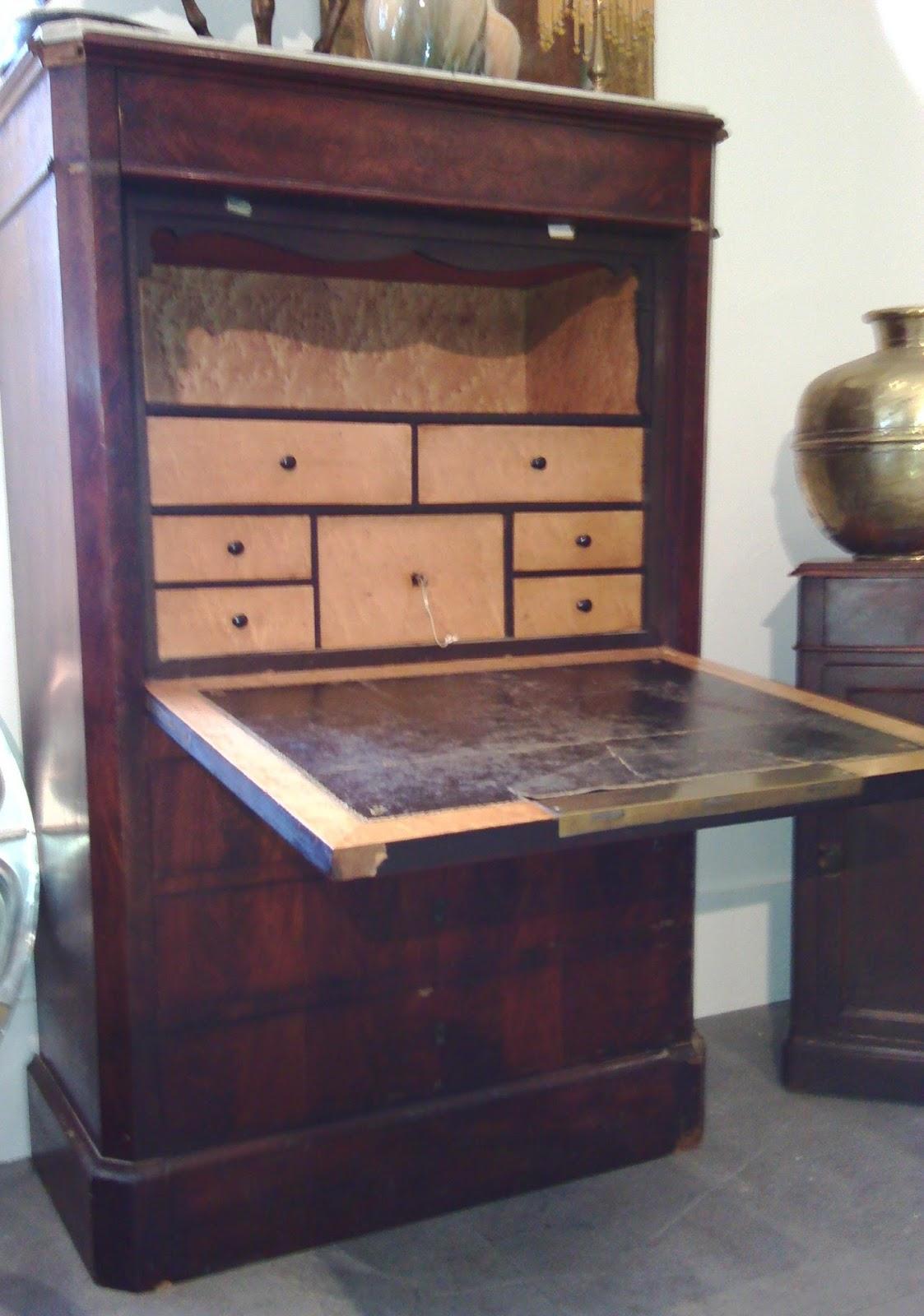 ancien secr taire acajou citronnier xixe napol on empire tiroirs commode secret ebay. Black Bedroom Furniture Sets. Home Design Ideas