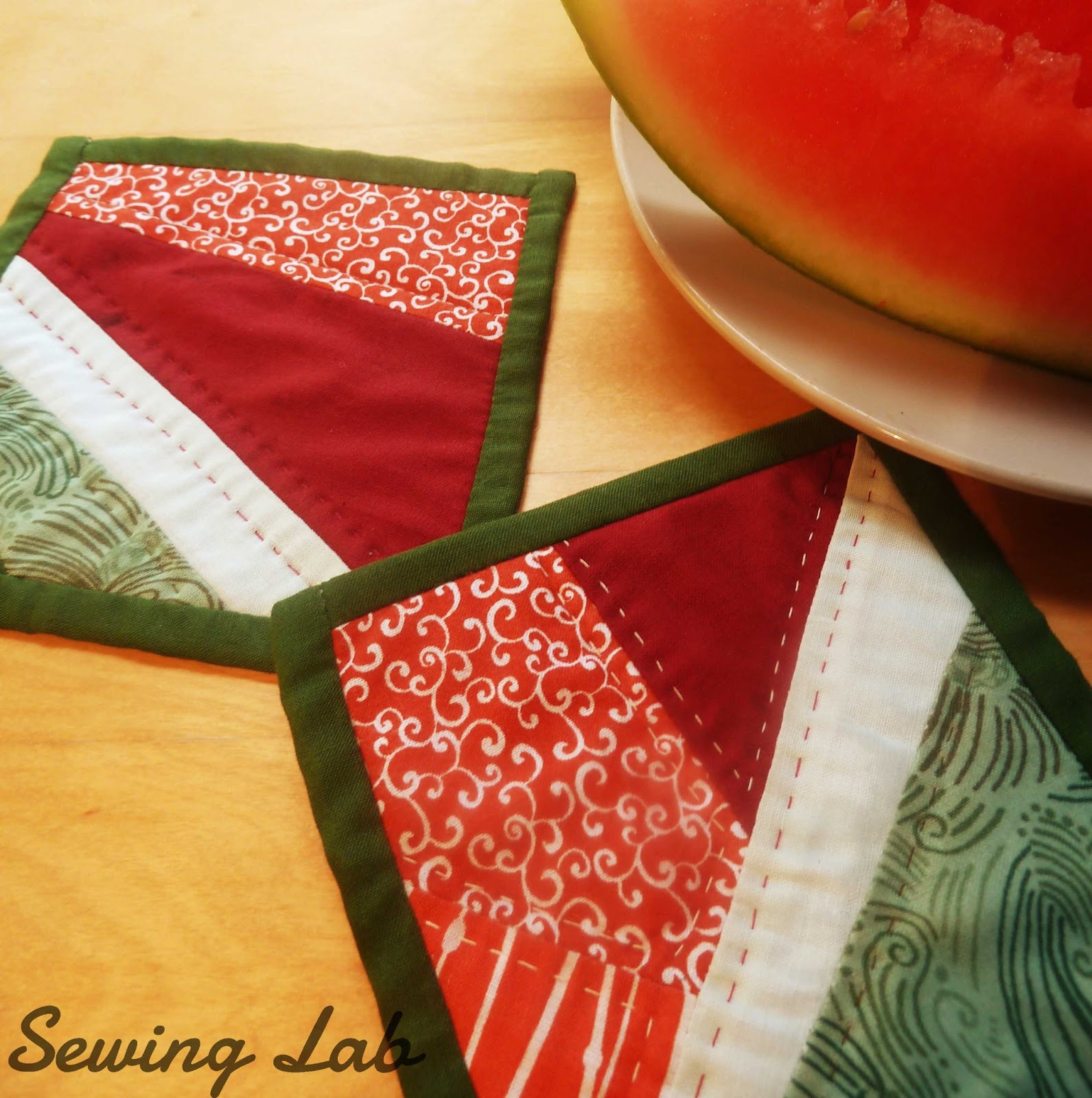 Sewing Lab: WATERMELON SQUARES COASTERS PATTERN