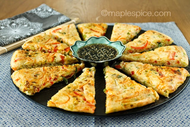Veggie Spring Roll Pancake Wedges with a Sesame-Tamari Dip. Gluten free and vegan.