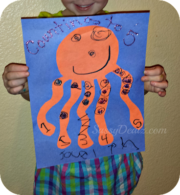 octopus counting to 5 craft activity for preschoolers