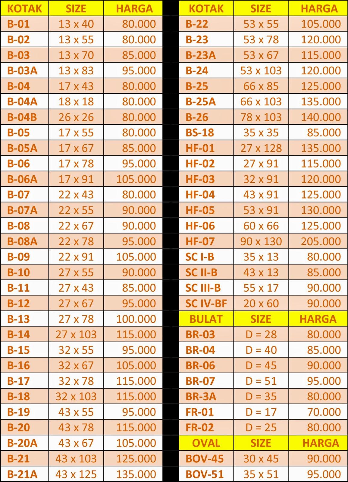 Daftar Harga Cetak Stempel 2015 Bekasi