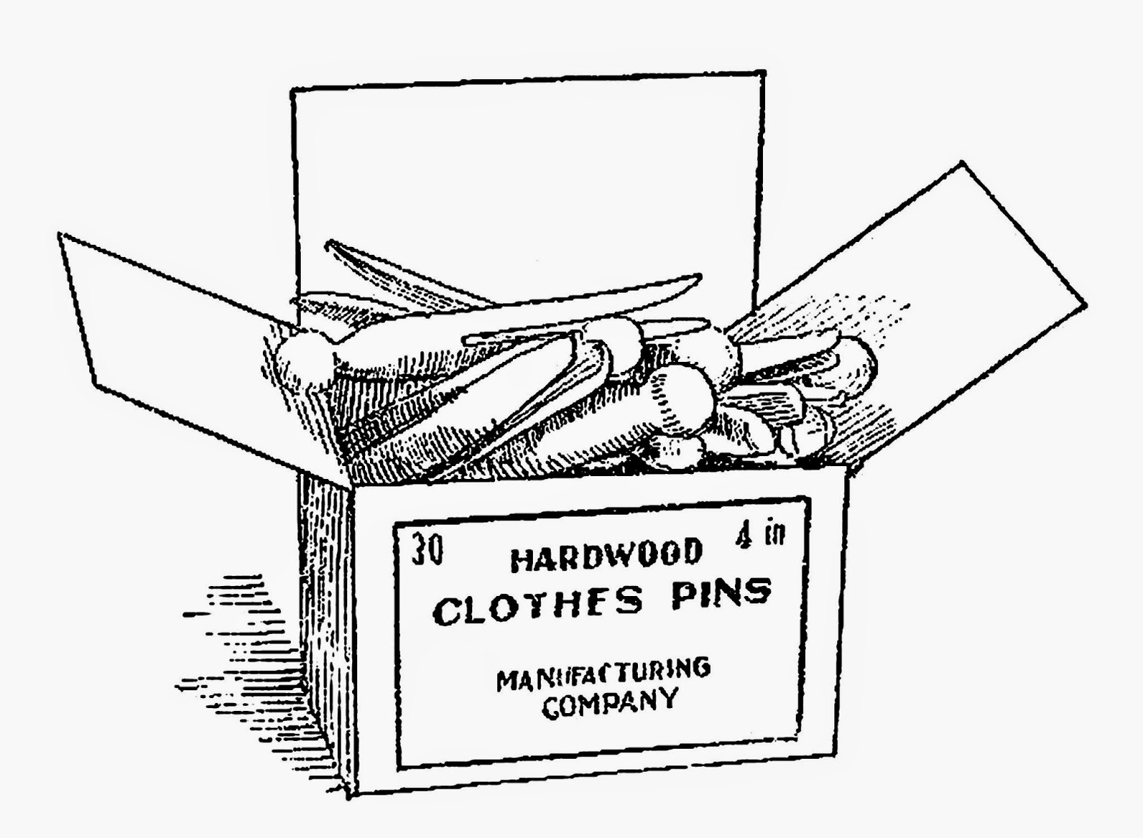 antique images  free digital clip art box of wooden clothes pins