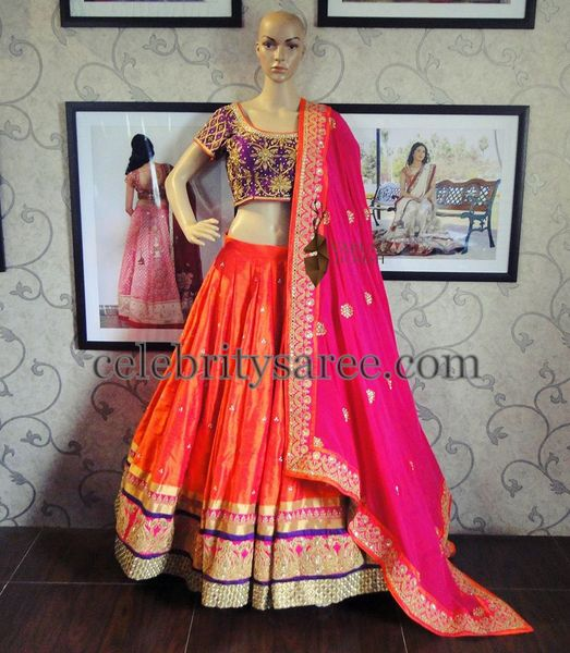 Varuna Jithesh Orange Purple Lehenga
