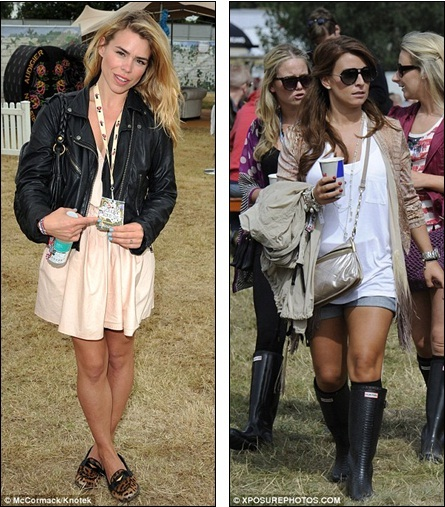 Chic: Billie Piper at the Essex festival (left) while WAG Coleen Rooney ...