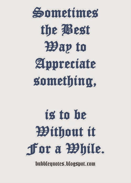Sometimes the bests way to appreciate something, is to be without it for a while image quote