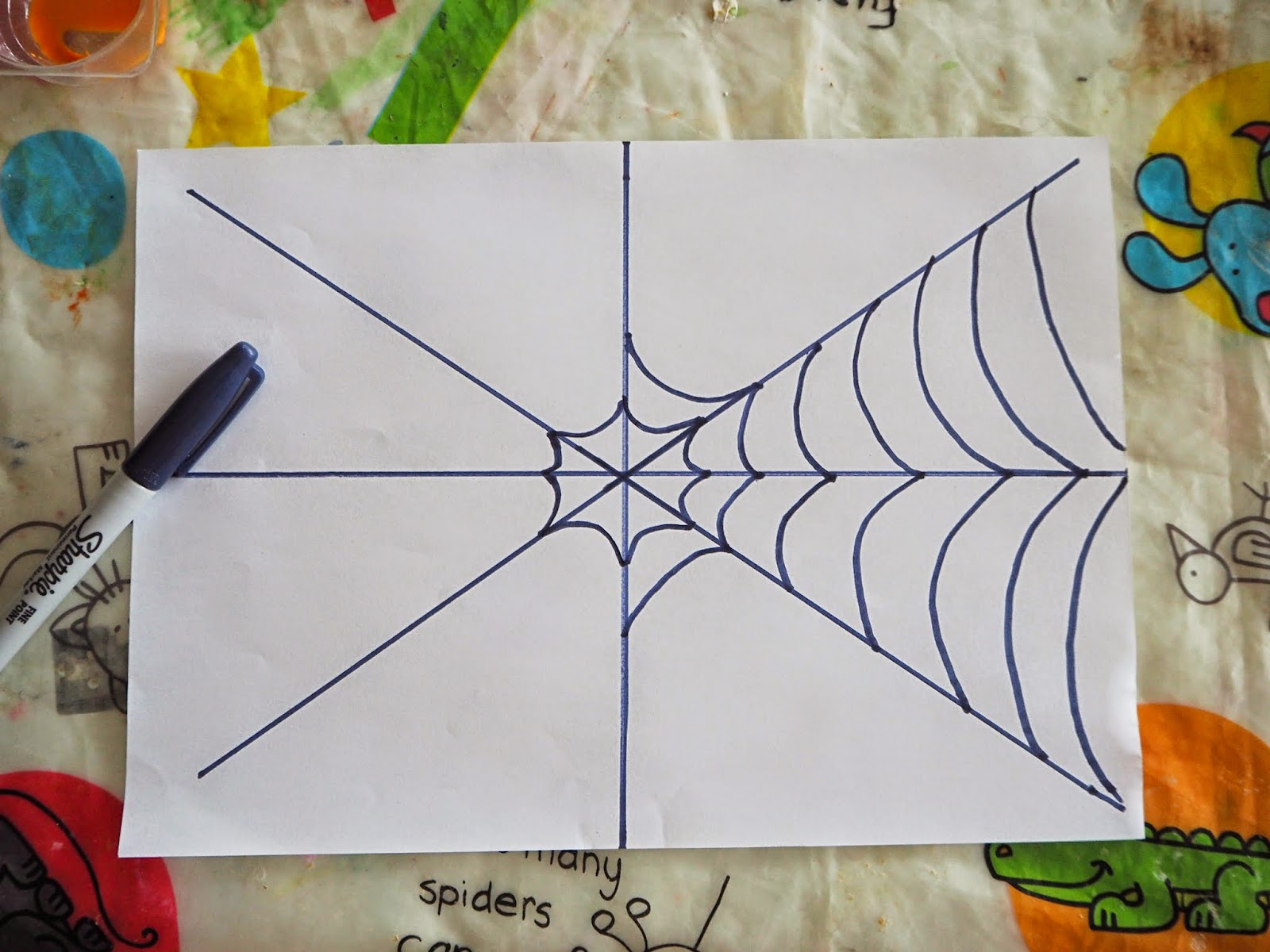 Straight Line Design Art : Learn with play at home spider web art for kids