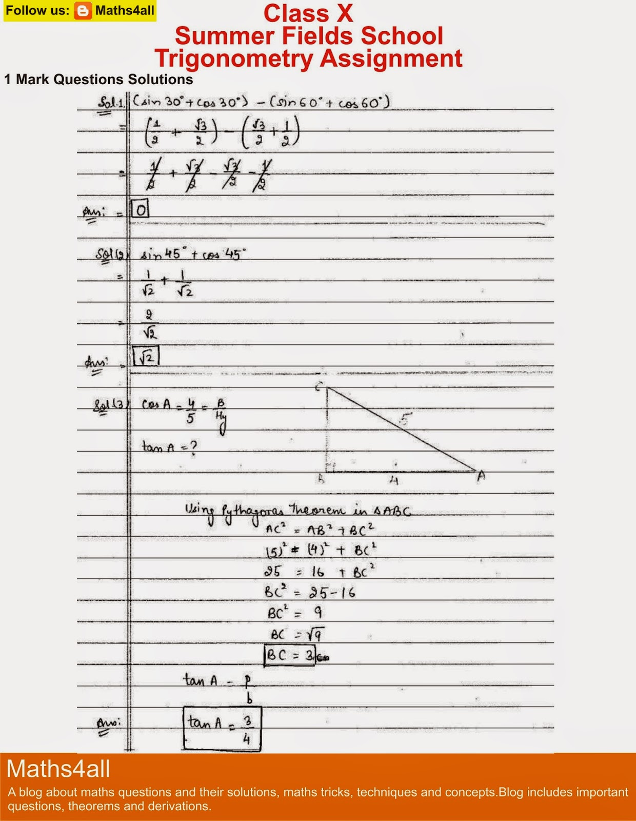 Trigonometry assignment