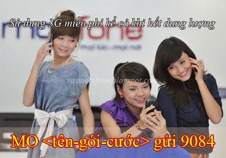Các gói cước 3G không giới hạn dung lượng của Mobifone