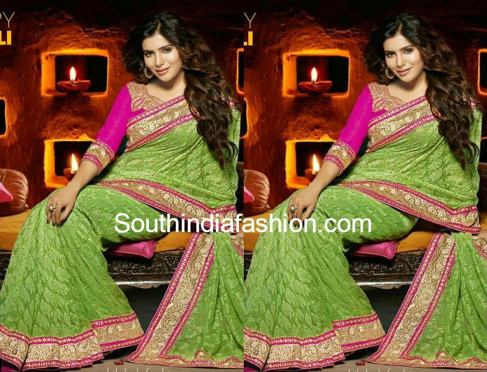 samantha in shilpkala green saree