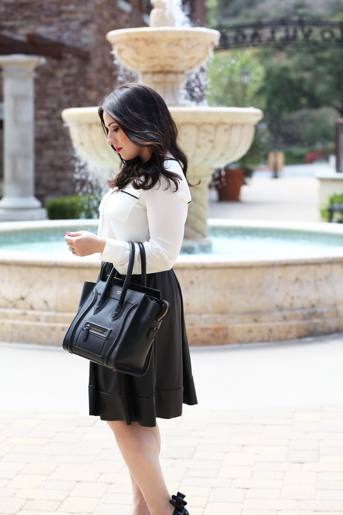 black-and-white-outfit-ideas-celine-bag-faux-leather-full-skirt-king-and-kind