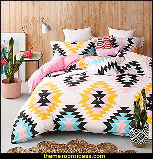 Tribal Bedding Set for Teens Aztec Exotic Green Yellow Black Duvet Cover