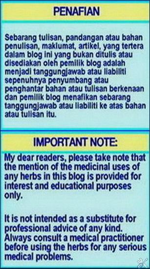PENAFIAN & IMPORTANT NOTE