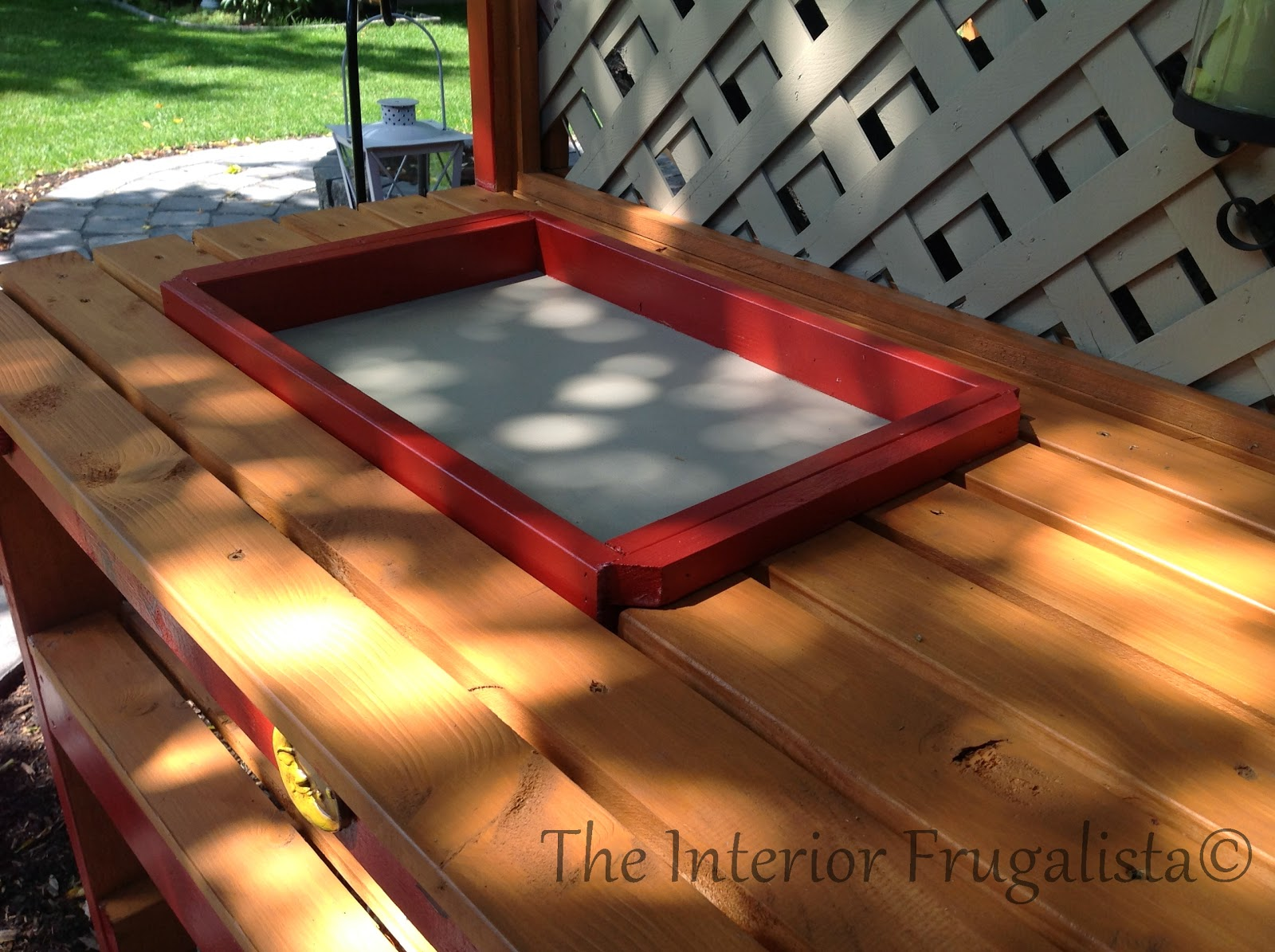 Easy DIY potting bench and outdoor bar with potting tray