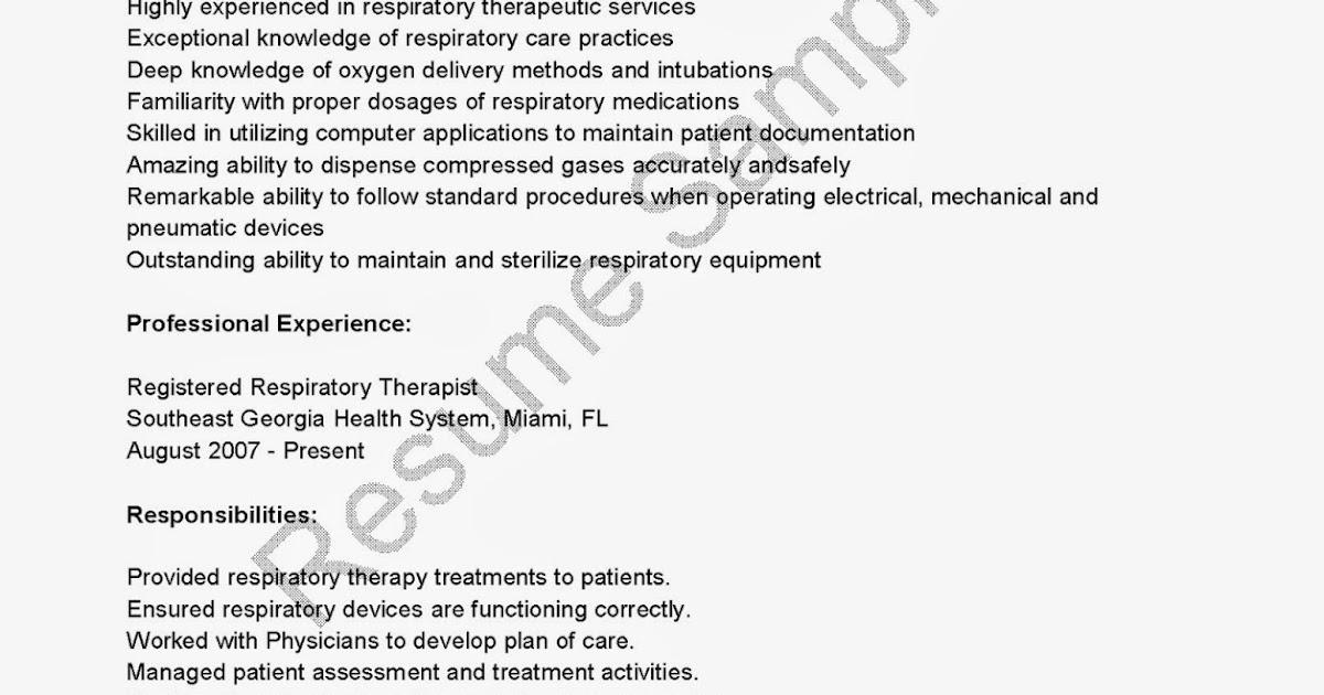 resume samples  registered respiratory therapist resume