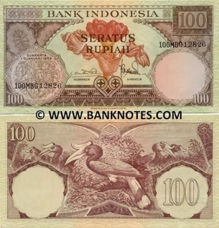 Uang Kertas 100 Rupiah 1959