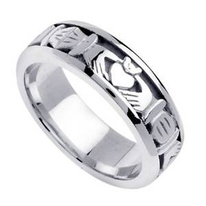 platinum claddaugh wedding rings