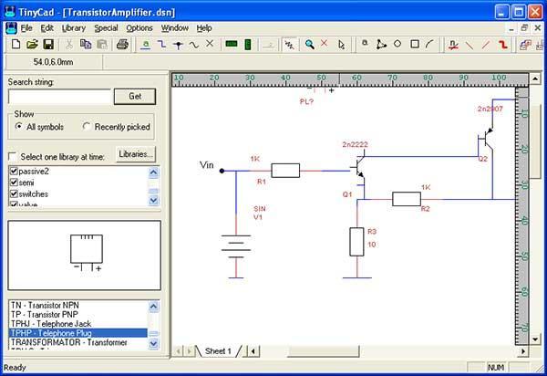 Schemi Elettrici Programma Gratis : Tinycad disegnare circuiti elettrici signor julent