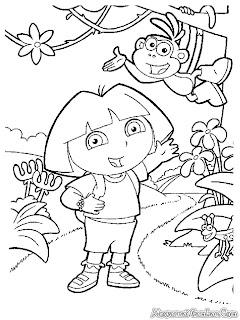 Mewarnai Gambar Dora Dan Boots
