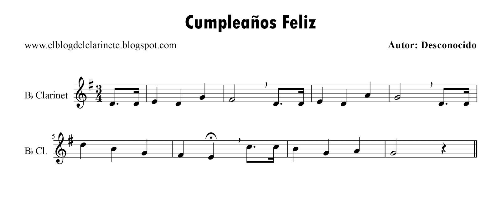 El blog del clarinete cumplea os feliz clarinete si b - Cumpleanos feliz piano ...