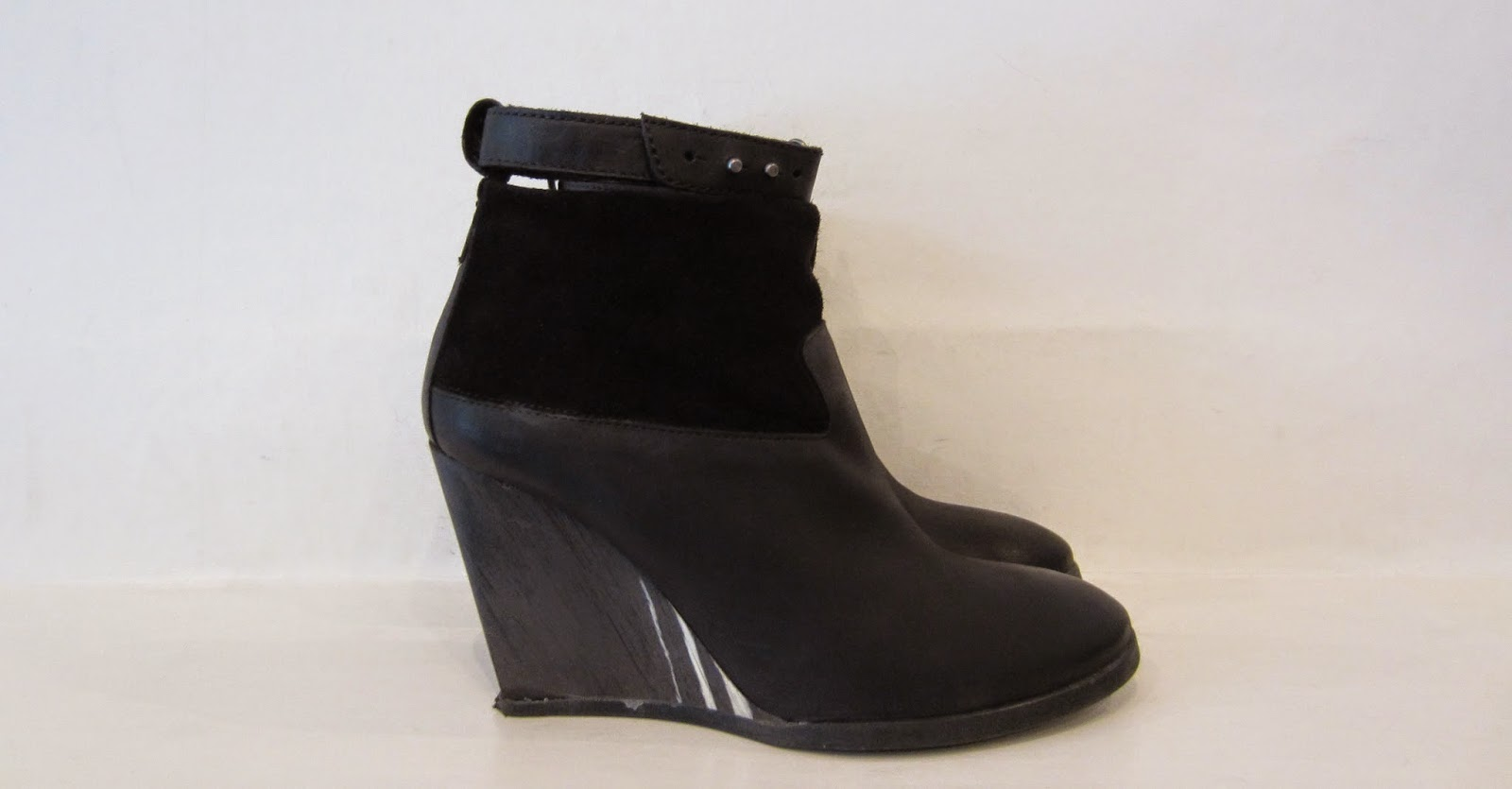 All Saints Black Leather & Suede Wedge Hell Boots