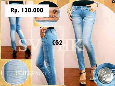 Celana Jeans Panjang Cewek merk Guess Model Kerut-kerut Terbaru | Toko ...