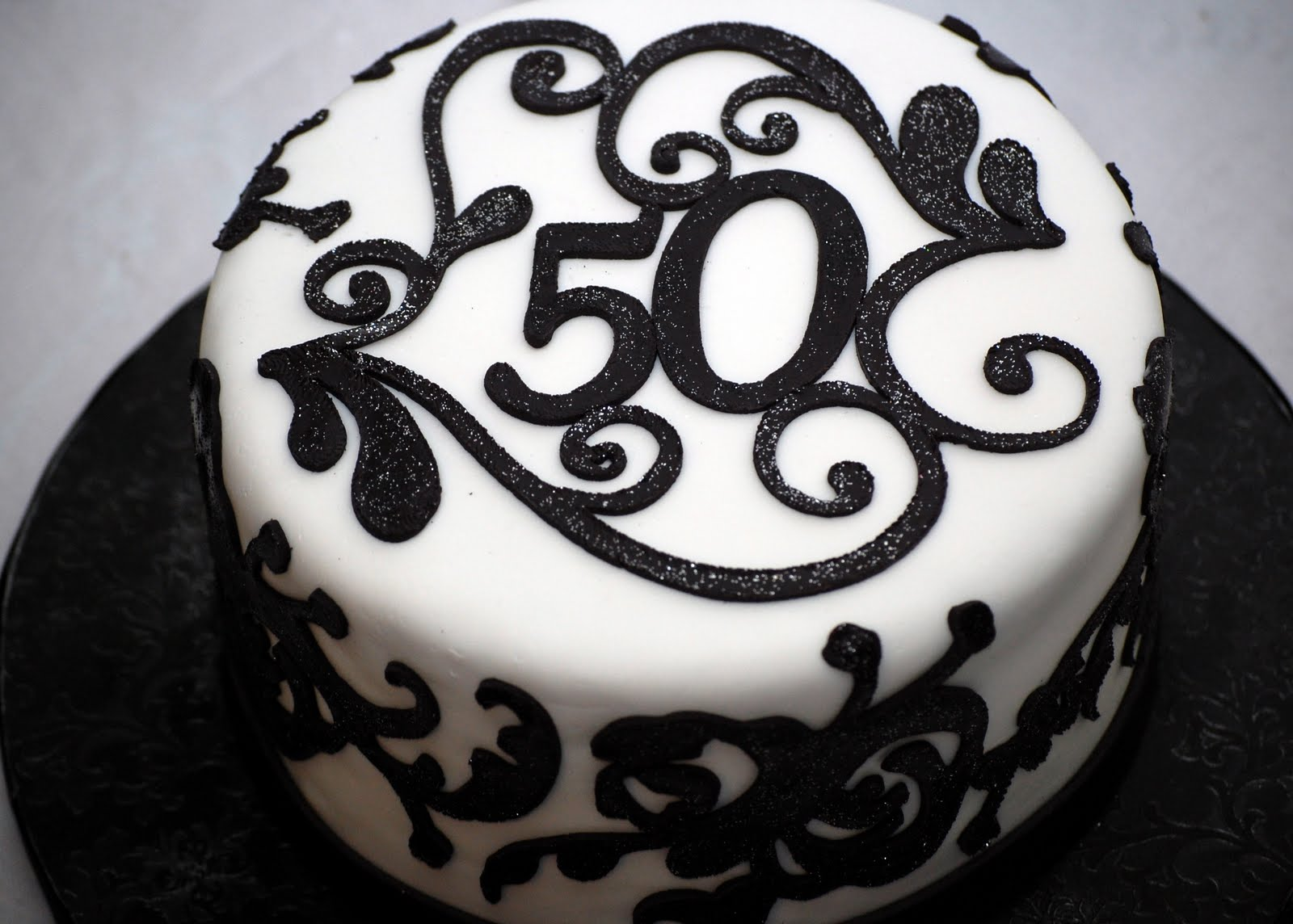CakeFilley Black and White 50th Birthday