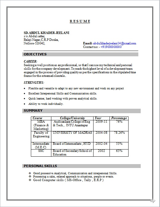 DOWNLOAD RESUME FORMAT IN WORD DOC./ PDF