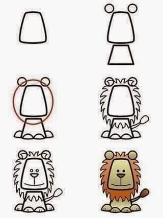 Cara menggambar singa bagi anak anak