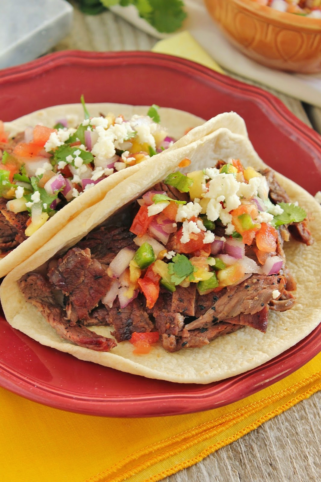 Grilled Ginger Steak Tacos With Pineapple Pico De Gallo