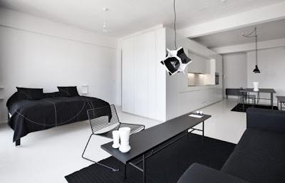 Decoraci n de interiores en blanco y negro todo un lujo for Pisos blancos minimalistas