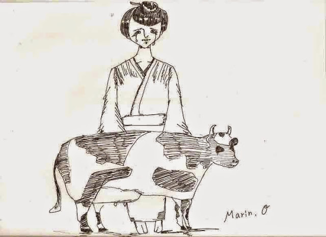 mother of Chiru-gwa,calf,sketch