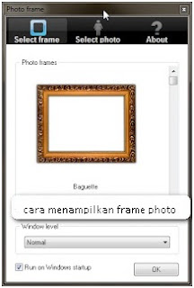 Menampilkan frame photo slide show di desktop komputer