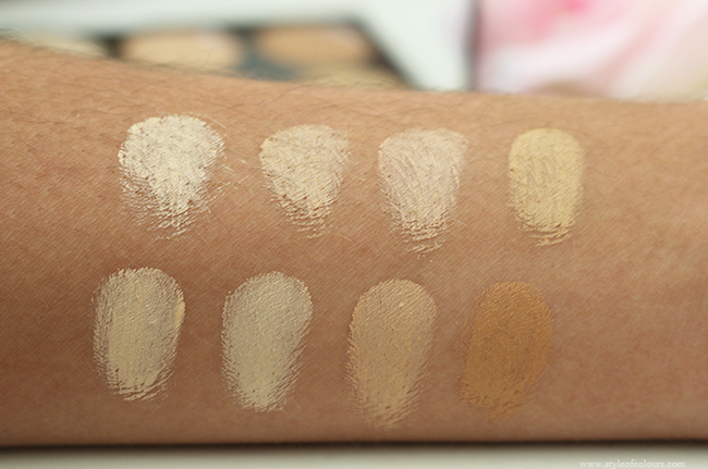 Makeup Revolution Cover & Conceal Palette in Light-Medium Swatches